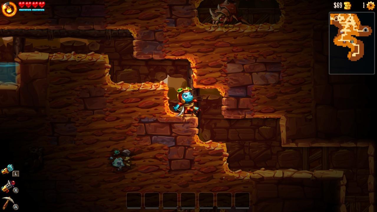 SteamWorld Dig 2 Switch Dorothy kaivoksessa