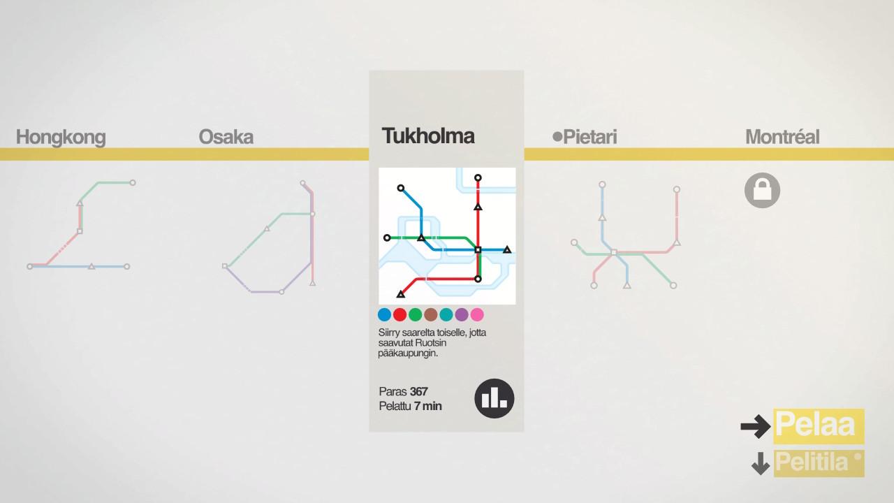 Mini Metro tehtävävalikoima Tukholma