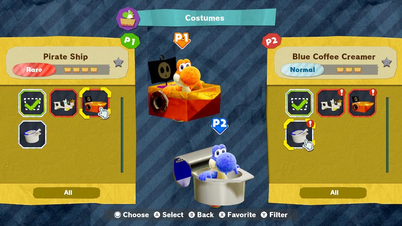 Yoshi's Crafted World kostyymejä kahdelle