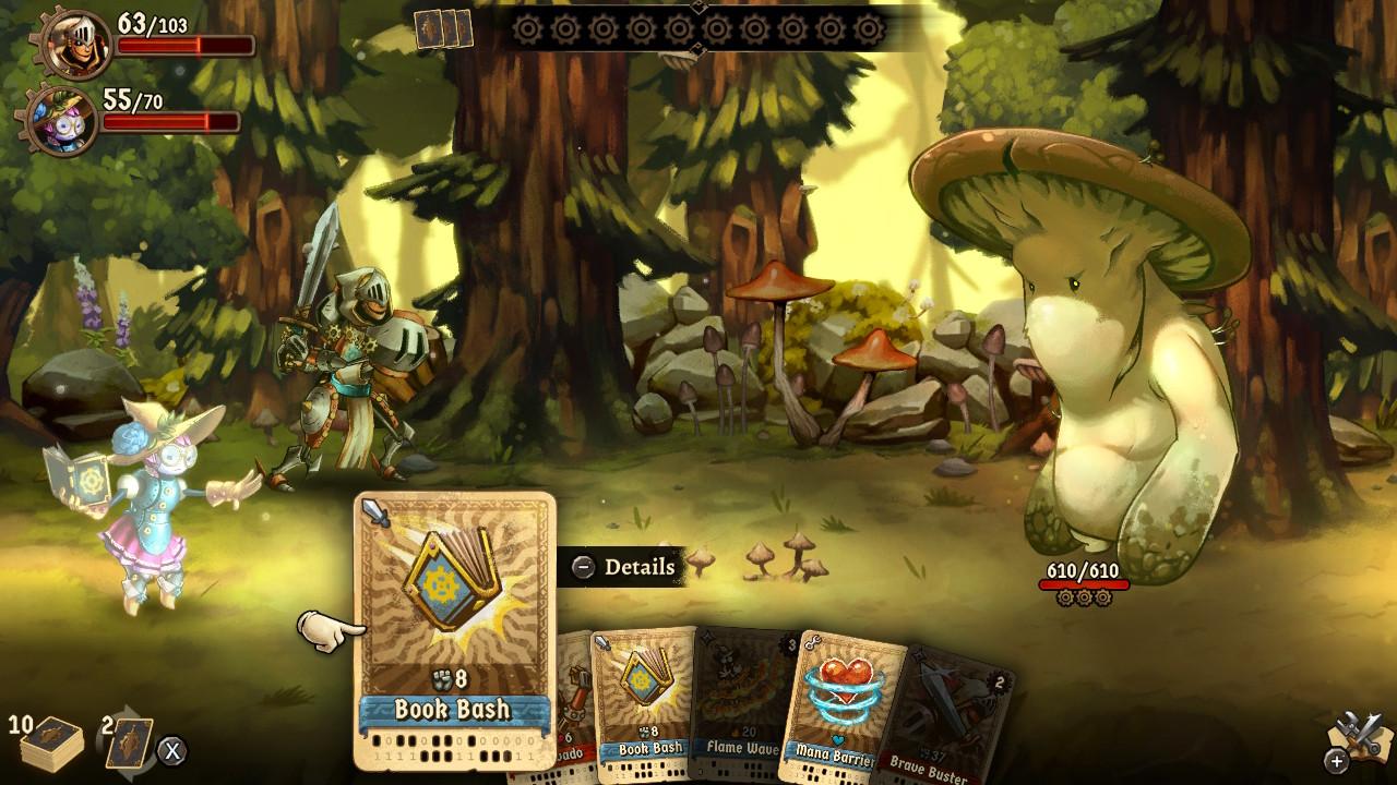 SteamWorld Quest taistelu jättisientä vastaan