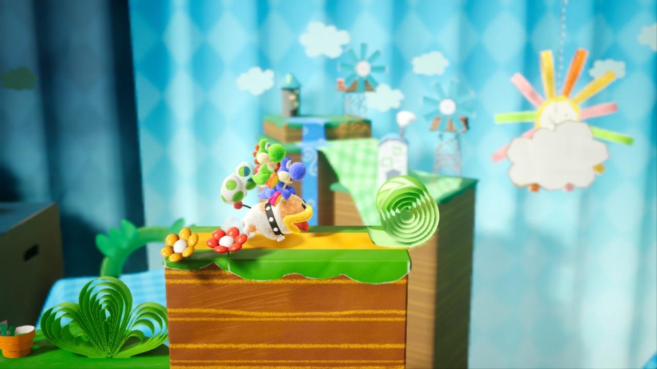 Yoshi's Crafted World Poochy ja kaksi Yoshia