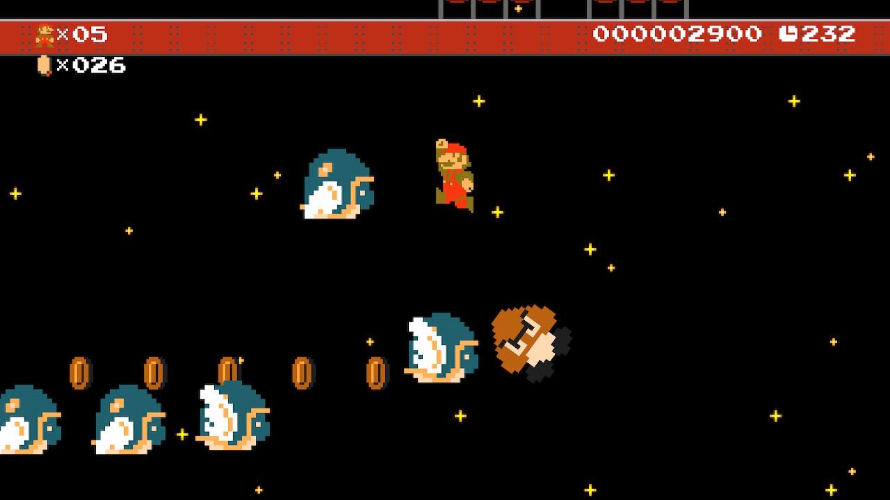 Super Mario Maker 2 pimeällä taivaalla pomppimista