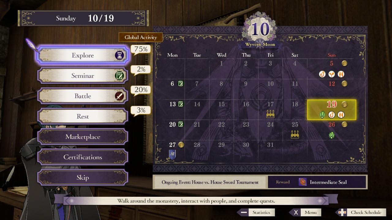 Fire Emblem: Three Houses kalenteri nenän edessä