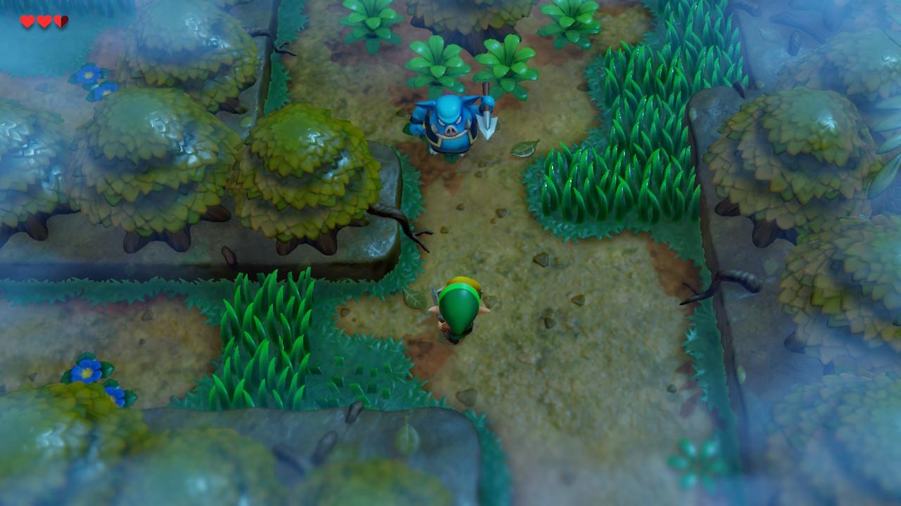 The Legend of Zelda: Link's Awakening Switch metsässä possun kanssa