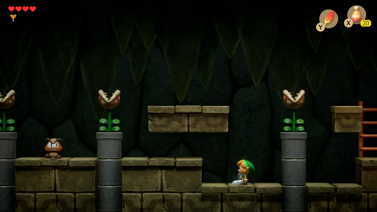 The Legend of Zelda: Link's Awakening Switch goombat luolastossa