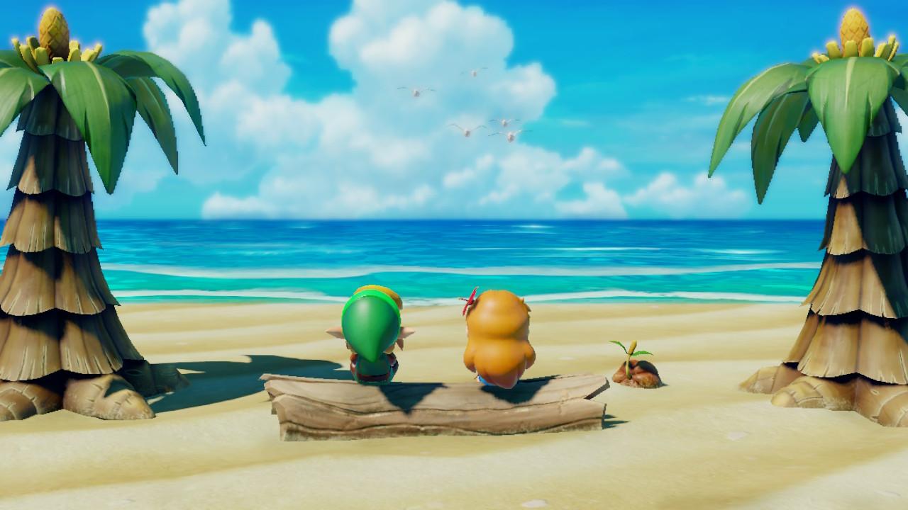 The Legend of Zelda: Link's Awakening Switch kaksikko rannalla