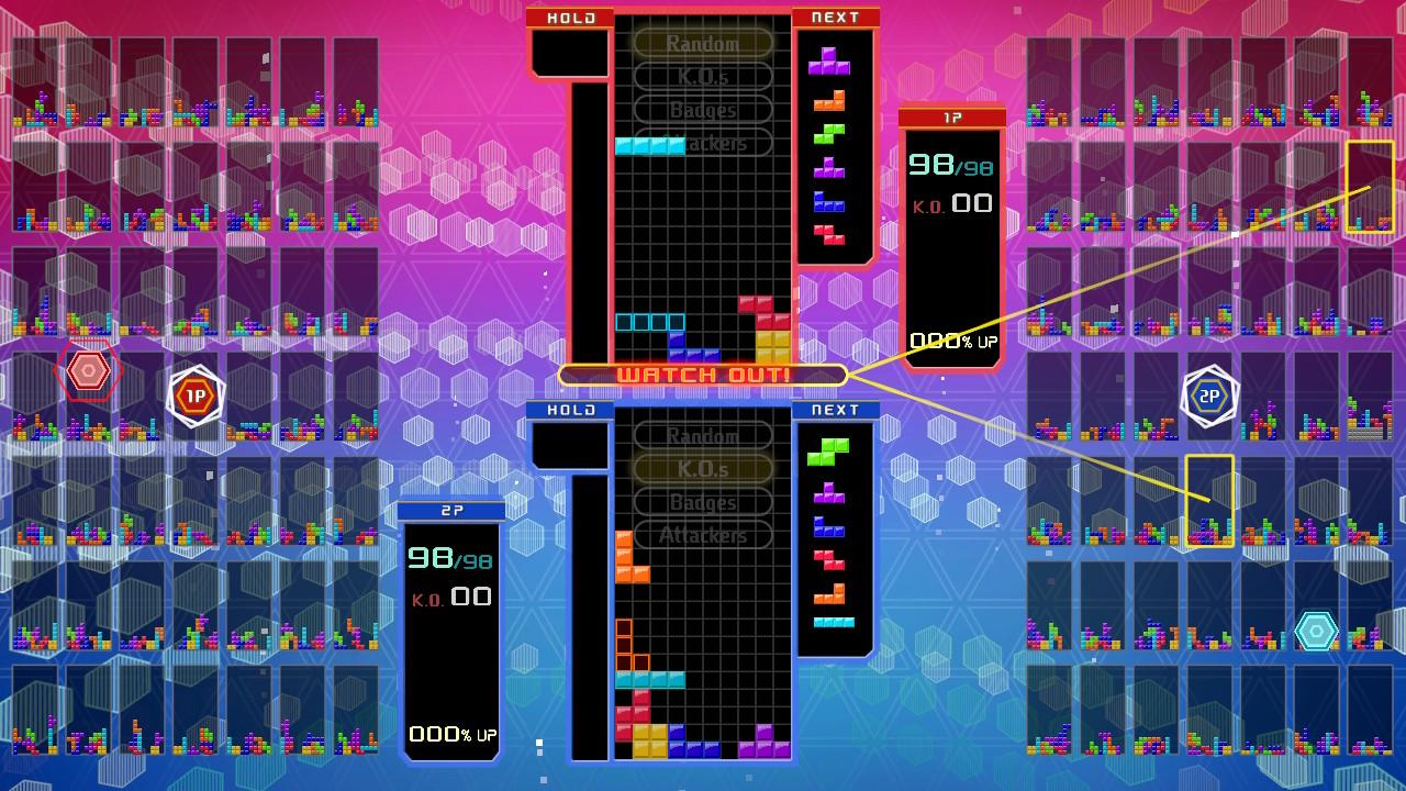 Tetris 99 moninpeli käynnissä