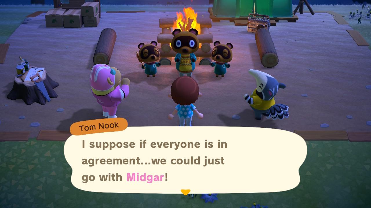 Animal Crossing: New Horizons ensimmäinen iltanuotio