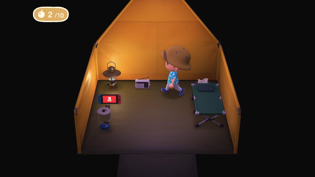 Animal Crossing: New Horizons teltta ensimmäisenä iltana