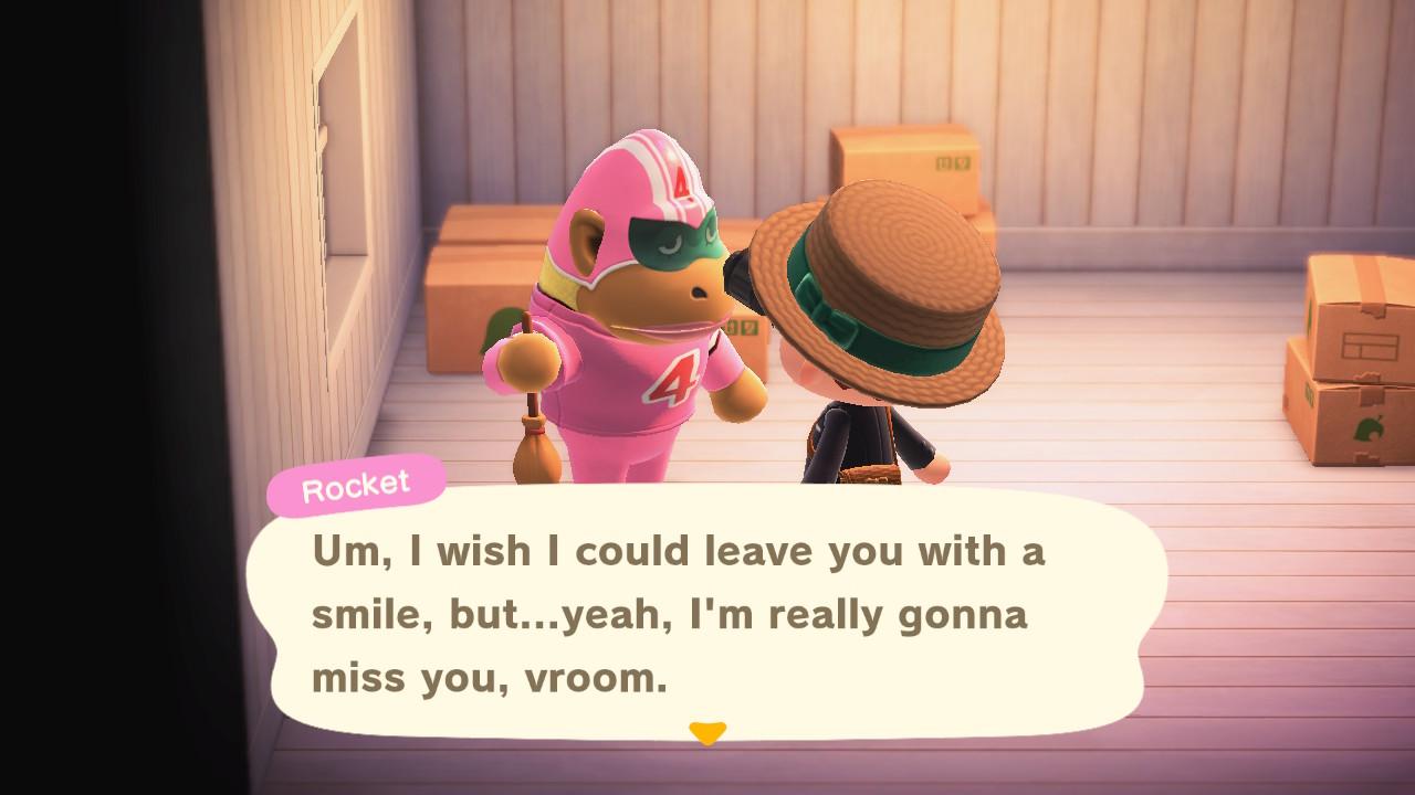 Animal Crossing: New Horizons Rocket-gorilla pois saarelta