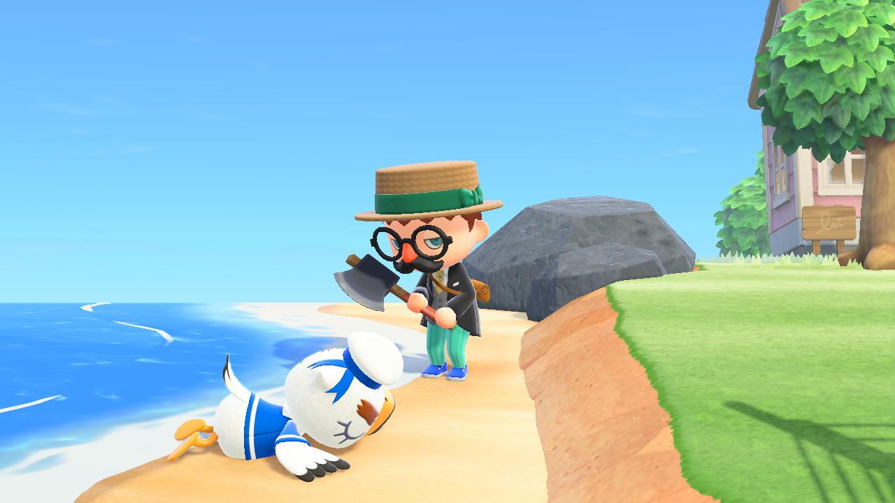 Animal Crossing: New Horizons kirves kädessä rannalla