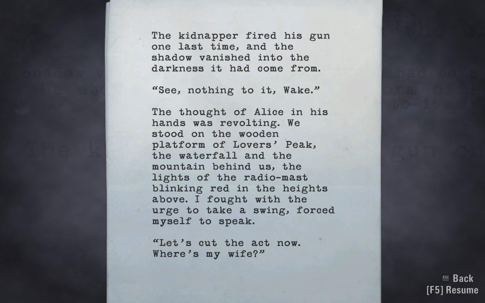 Alan Wake tarina etenee myös tekstinä