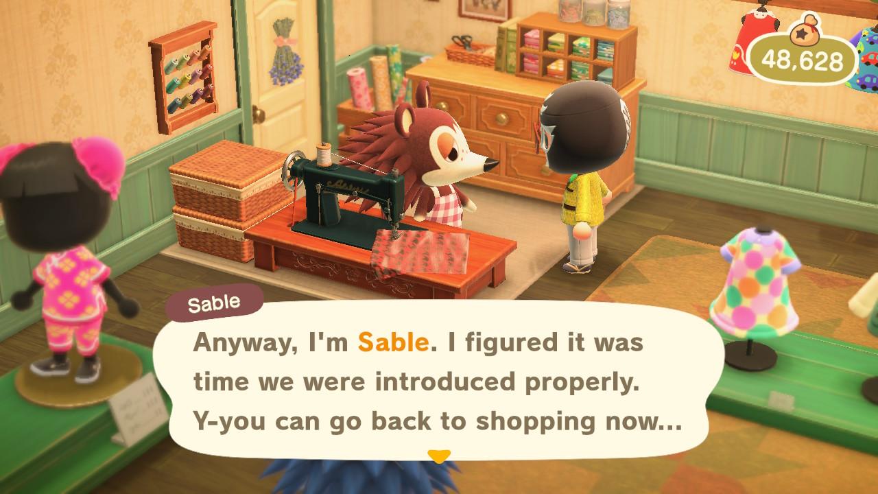 Animal Crossing: New Horizons Sable puhuu