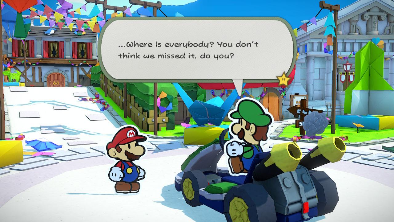 Paper Mario The Origami King Mario ja Luigi kovin tyhjässä Toad Townissa
