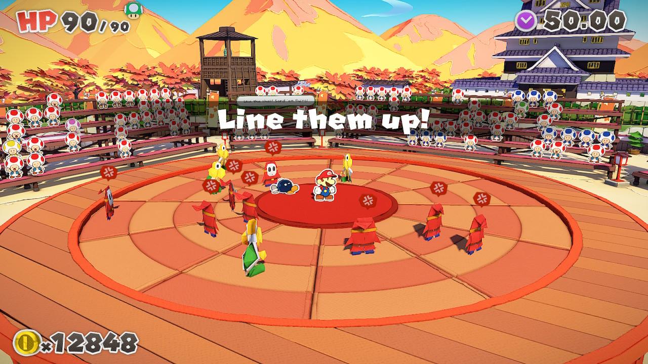 Paper Mario: The Origami King taistelua vihollisia vastaan