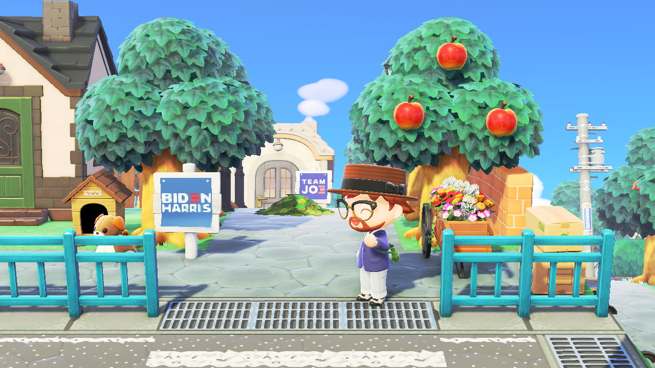 Animal Crossing: New Horizons Biden HQ -saarella vaaliplakaatteja