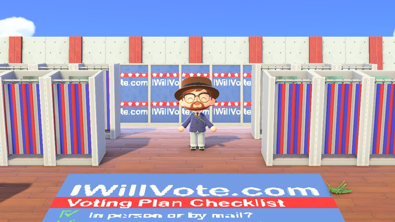 Animal Crossing: New Horizons Biden HQ -saarella äänestyskoppeja