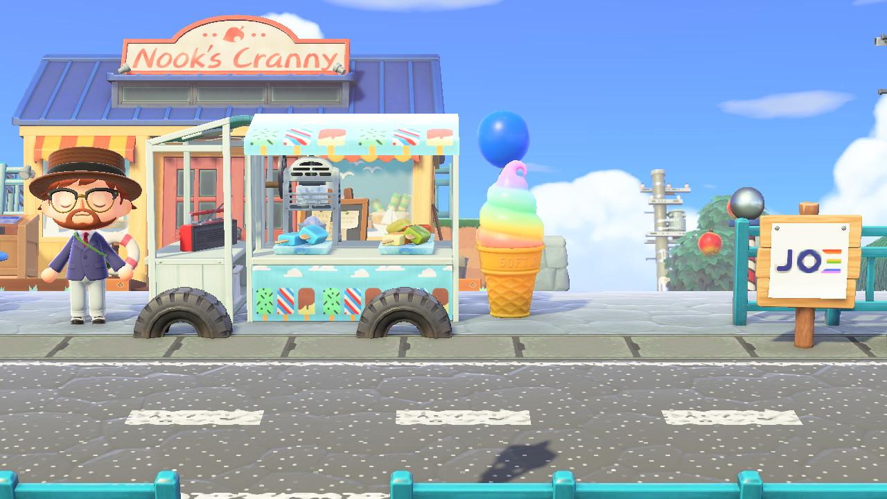 Animal Crossing: New Horizons Biden HQ -saarella jäätelöauto