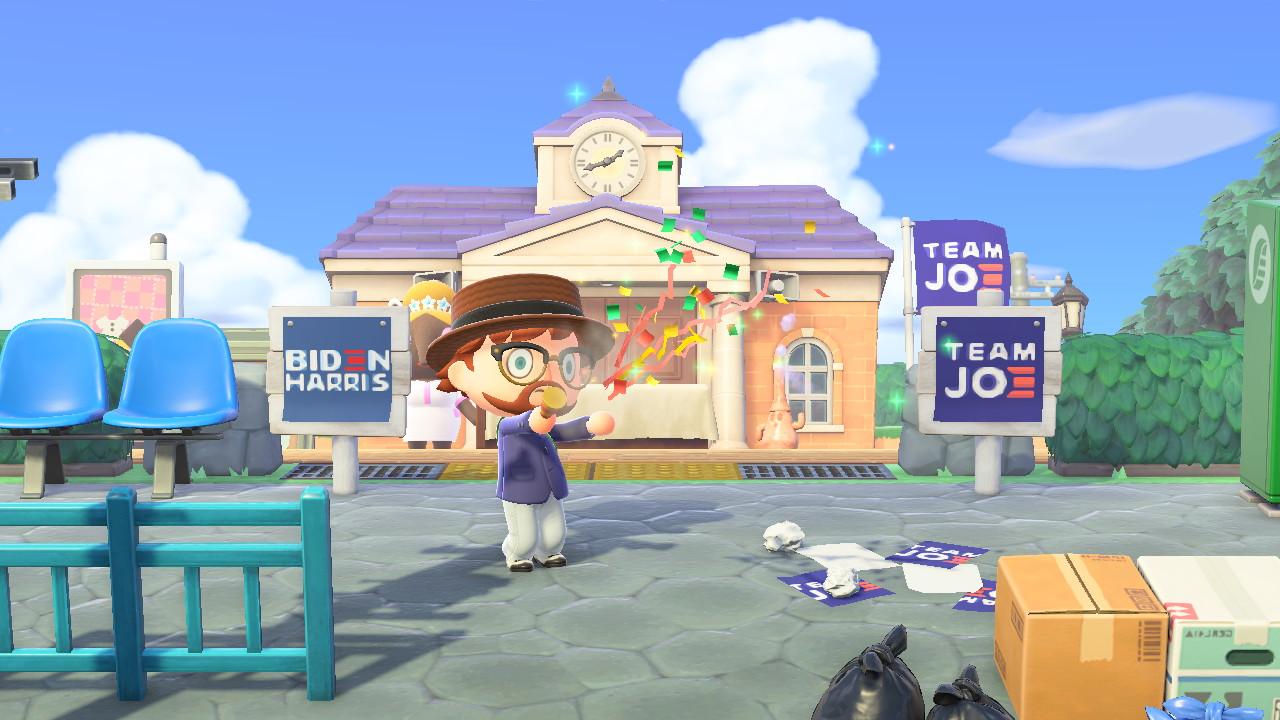 Animal Crossing: New Horizons Biden HQ ja party popperi