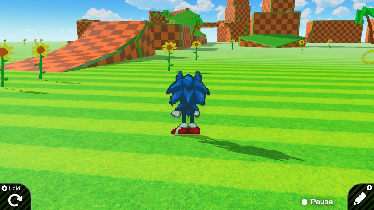 Game Builder Garage jonkun tekemän Sonic-tasoloikka