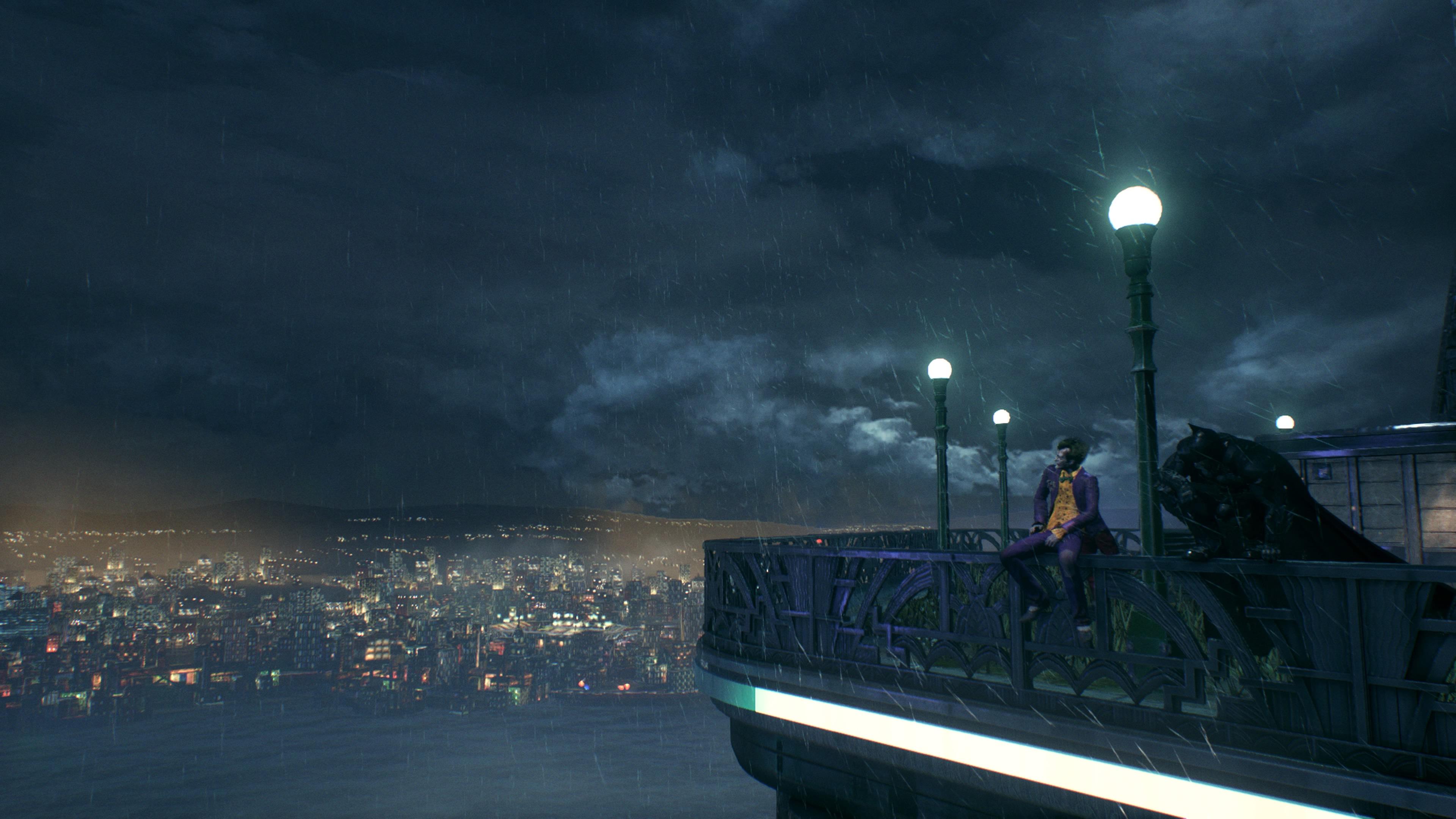 BATMAN: Arkham Knight kuvakaappaus Batmanista ja Jokerista orrella