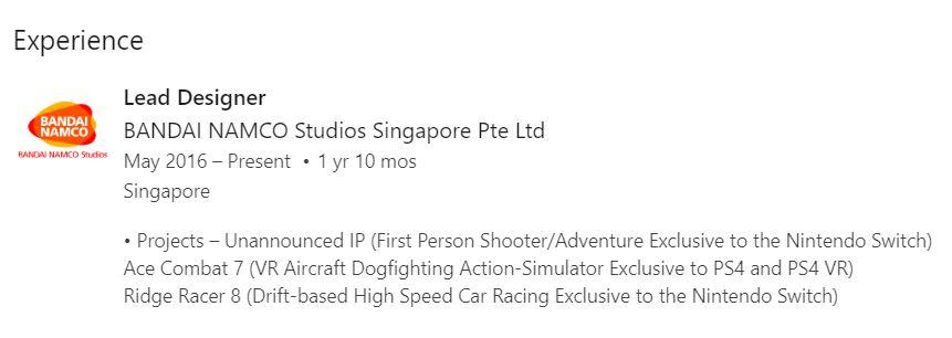 Bandai Namco työntekijän cv metroid ja ridge racer 8