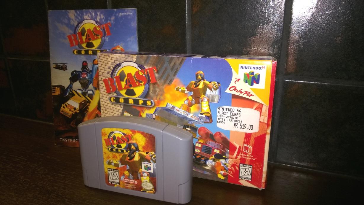 Blast Corps Nintendo 64 pelikasetti kotelo ja ohjekirja