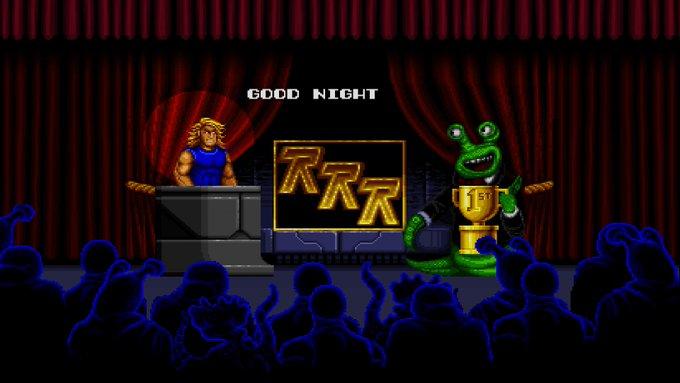 Blizzard Arcade Collection Rock'n Roll Racing voittajan seremonia