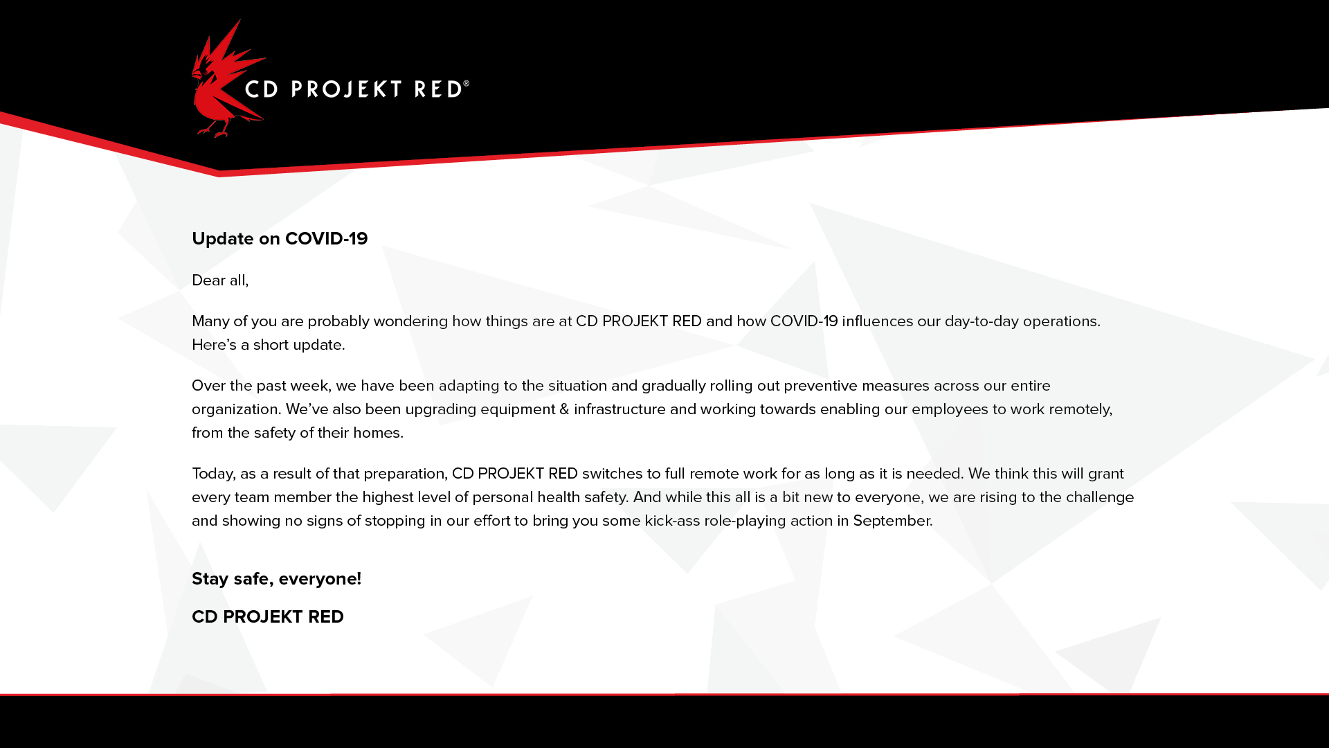 CD Projekt Redin tiedote