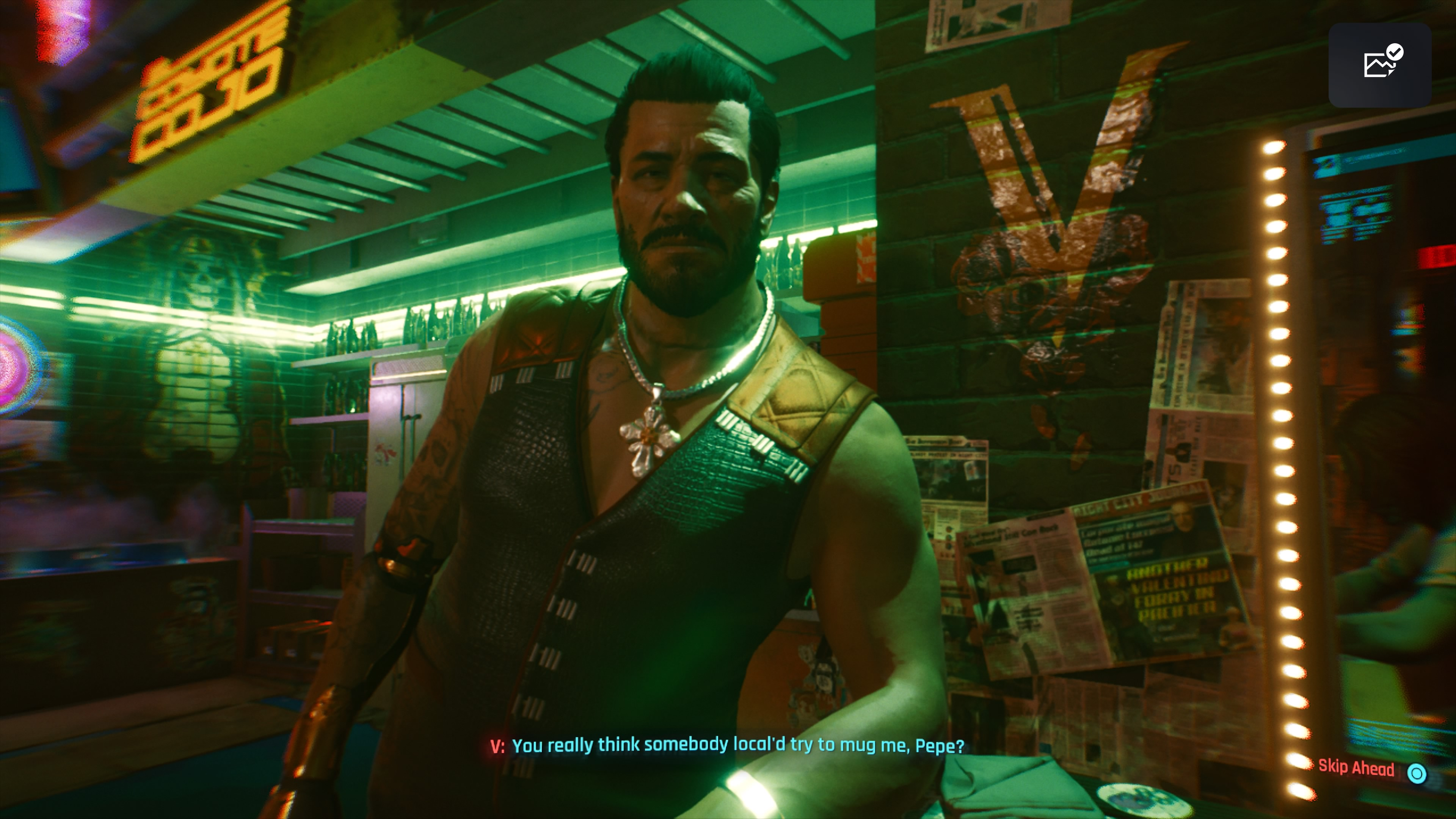 Cyberpunk 2077 Pepe baarissa PS5-pelattuna PS4-versio