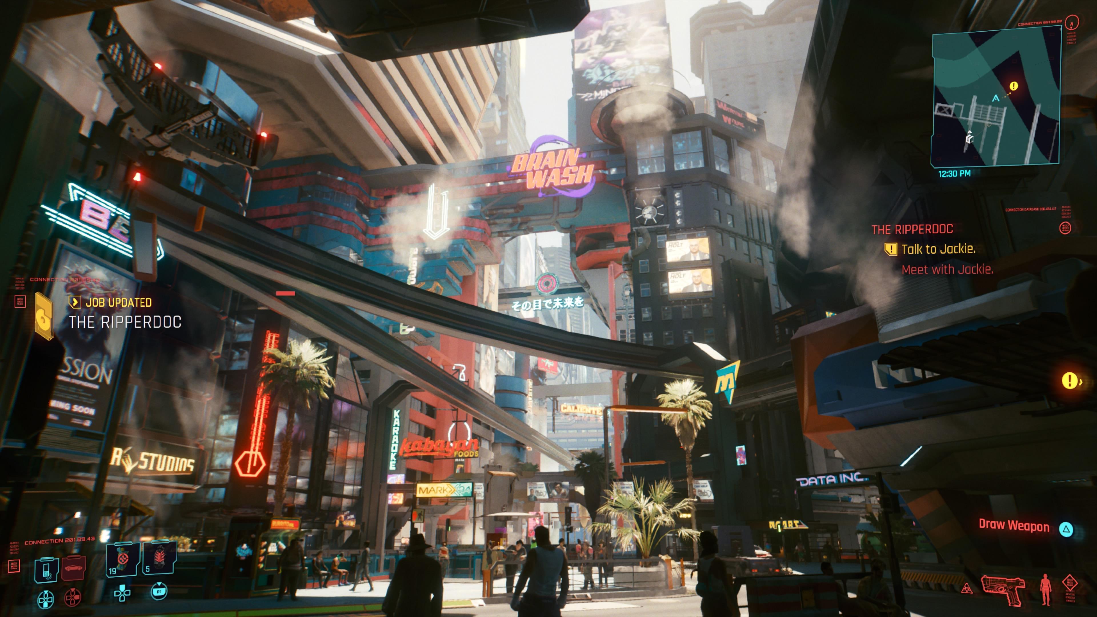 Cyberpunk 2077 Night City päivällä