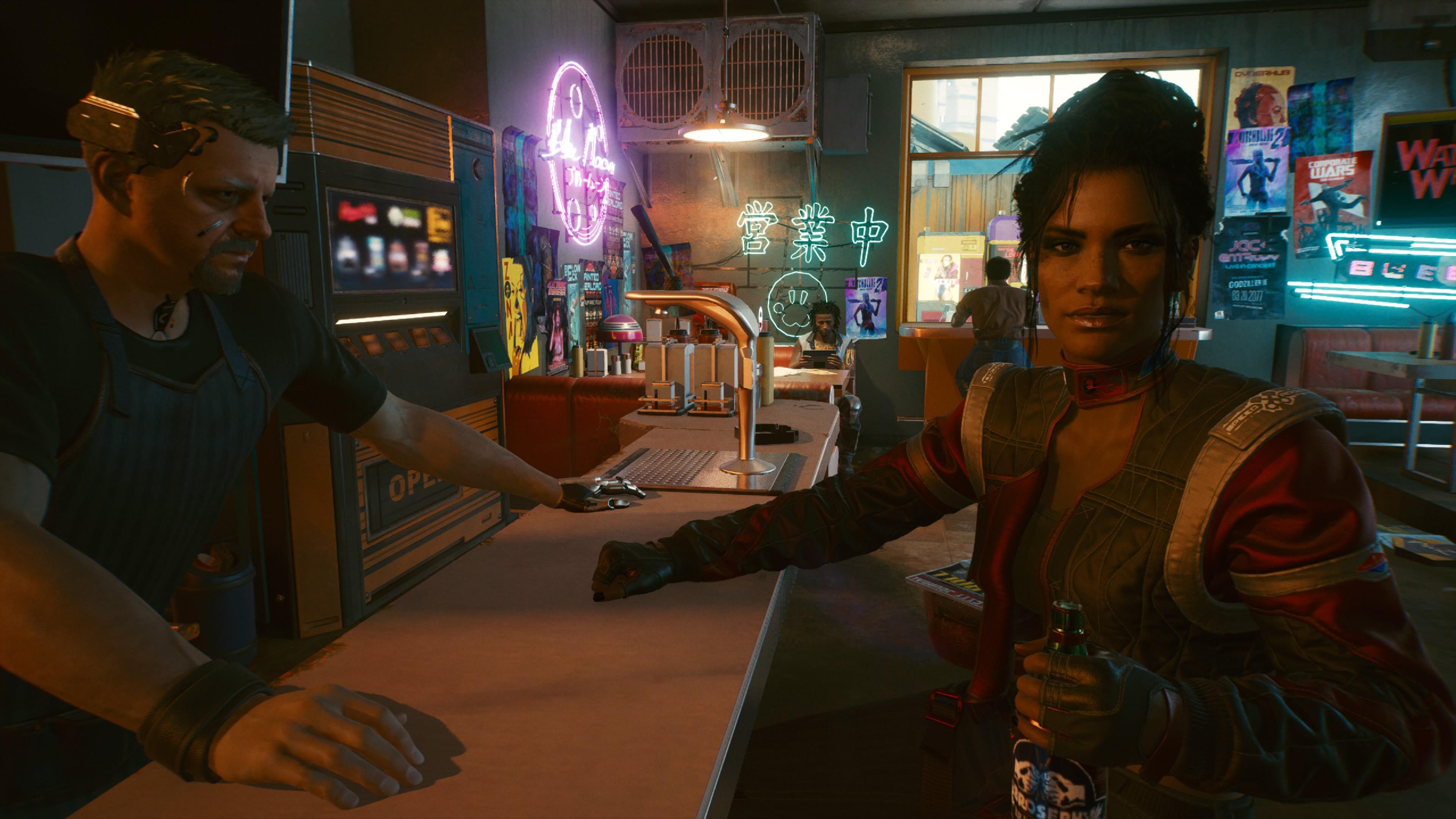 Cyberpunk 2077 juomassa pelin parhaan hahmon kera