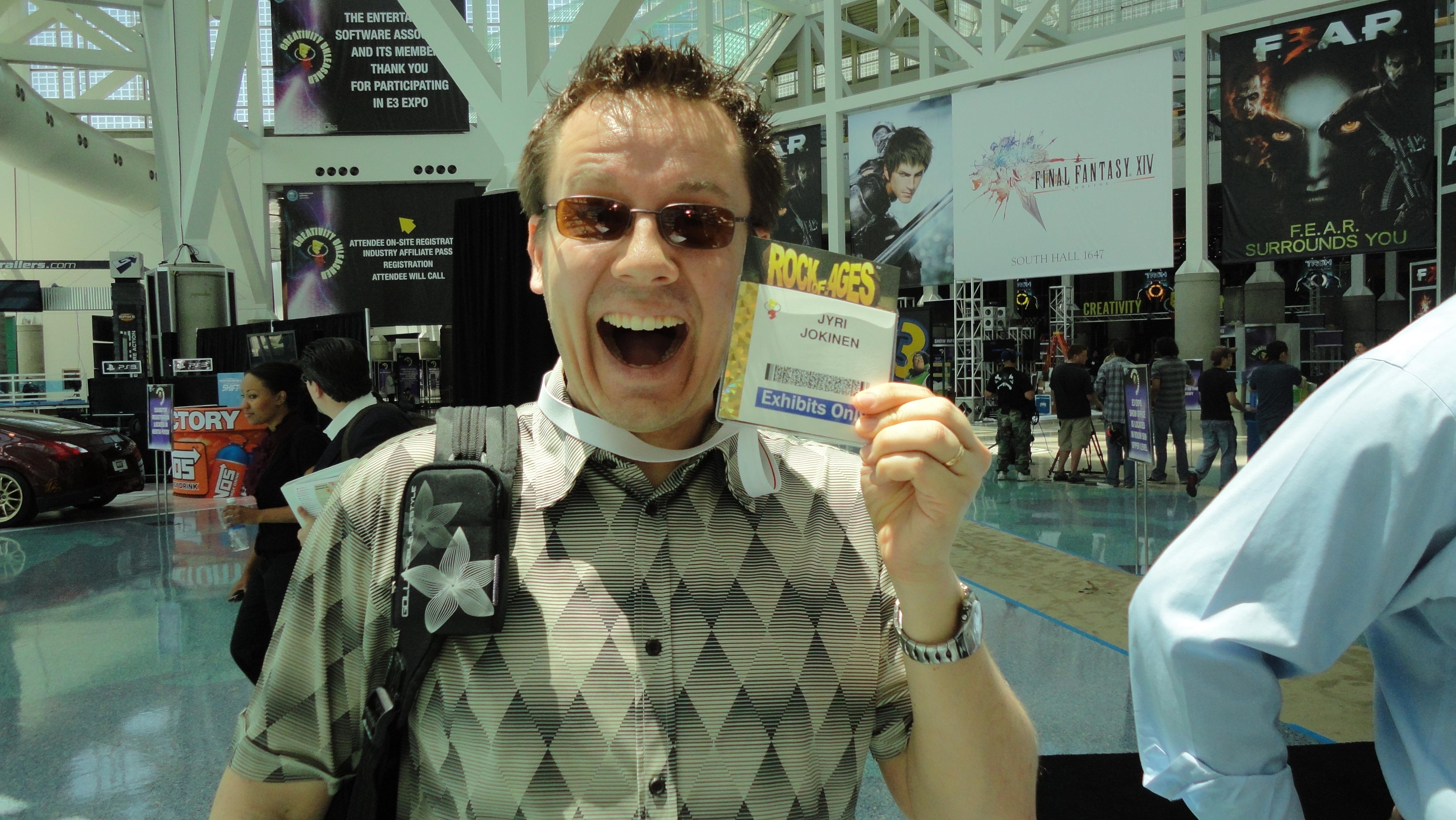 Jyri on iloinen E3-messuilla