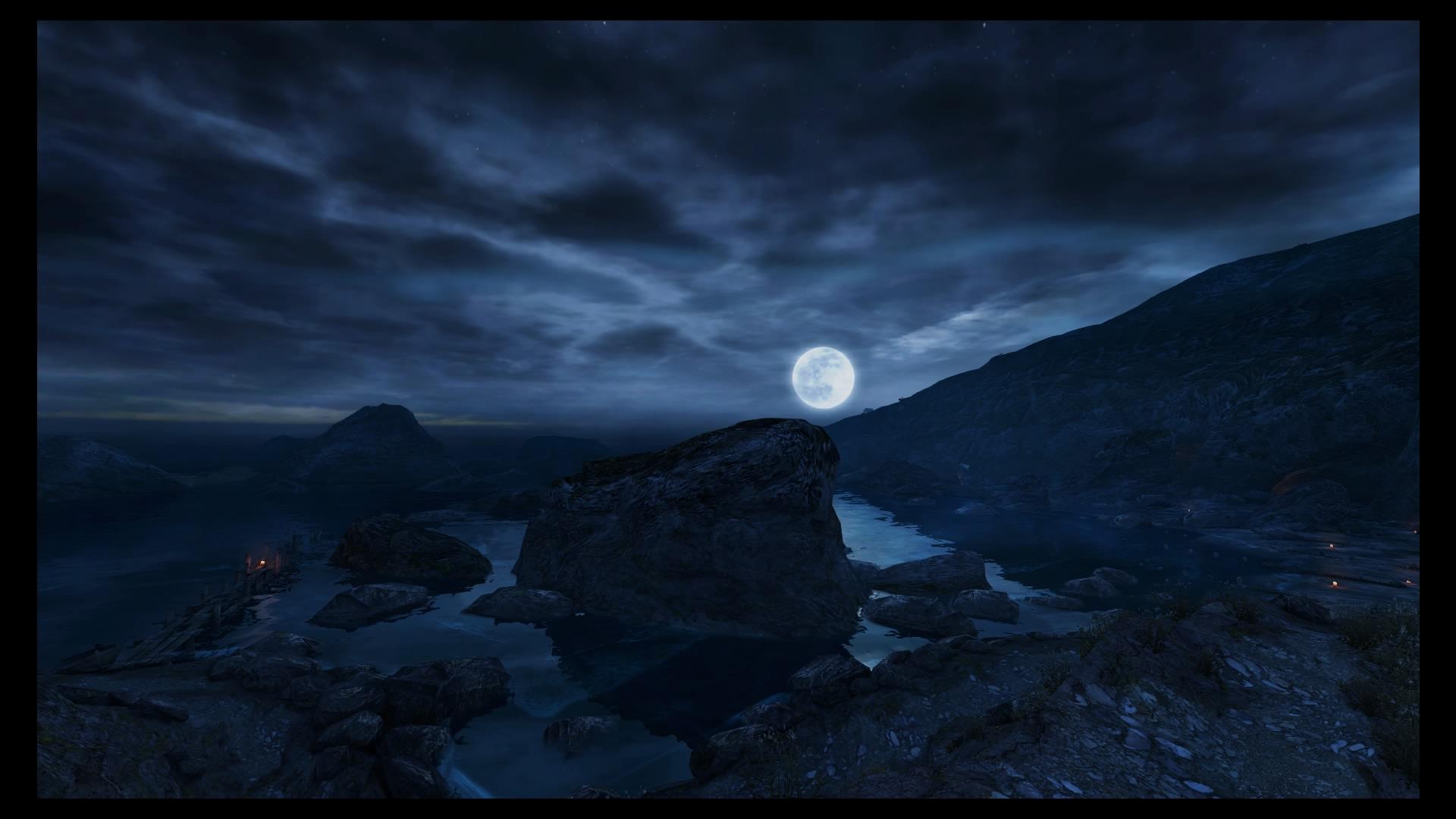 Kuu valaisee rantaa matkalla Estherin luokse