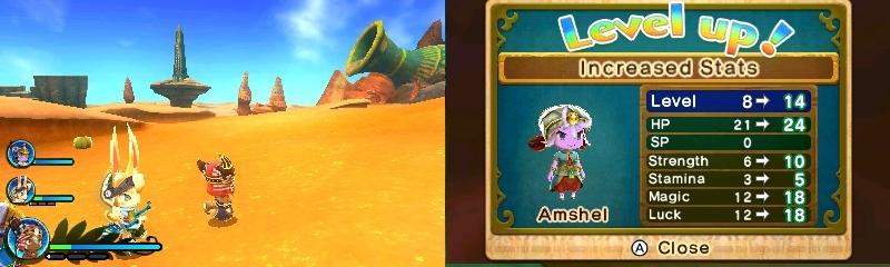 Ever Oasis aavikko ja kokemustasot 3DS