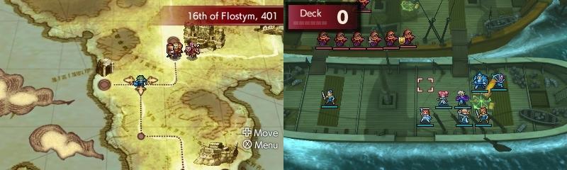 Fire Emblem Echoes Shadows of Valentia kartta ja taisto laivalla