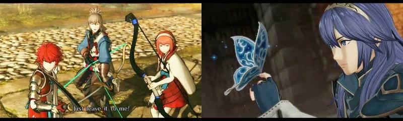 Fire Emblem Warriors 3DS kasa hahmoja ja perhonen