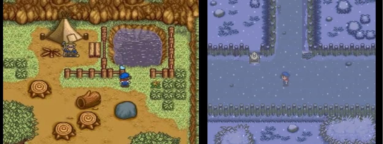 Harvest Moon SNES lampi ja lunta