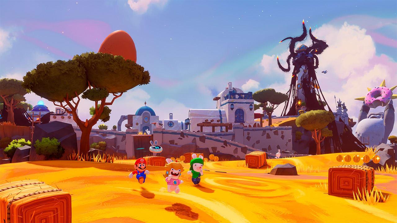 Mario + Rabbids Sparks of Hope kylän laitamilla