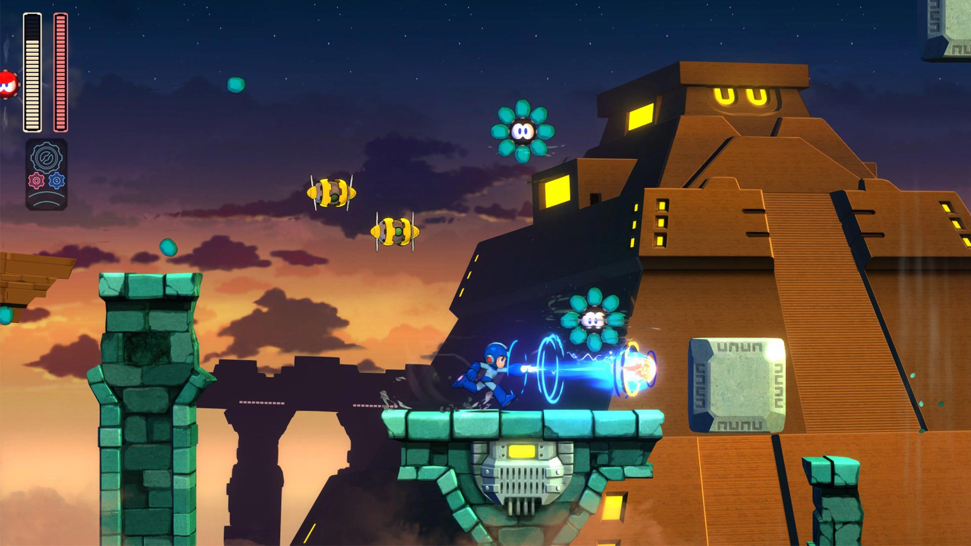 Mega Man 11 vihulaisia joka suunnassa