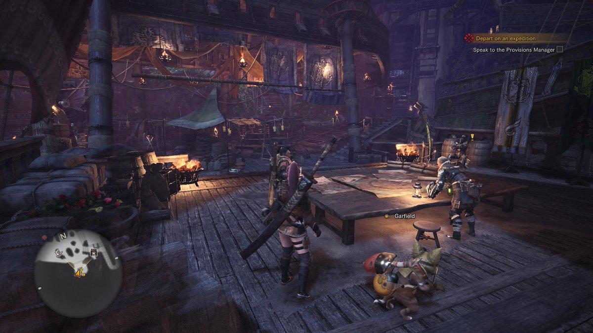 Monster Hunterin tiimi sotasuunnitelmaa laatimassa