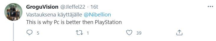 PC parempi kuin PlayStation Twitter