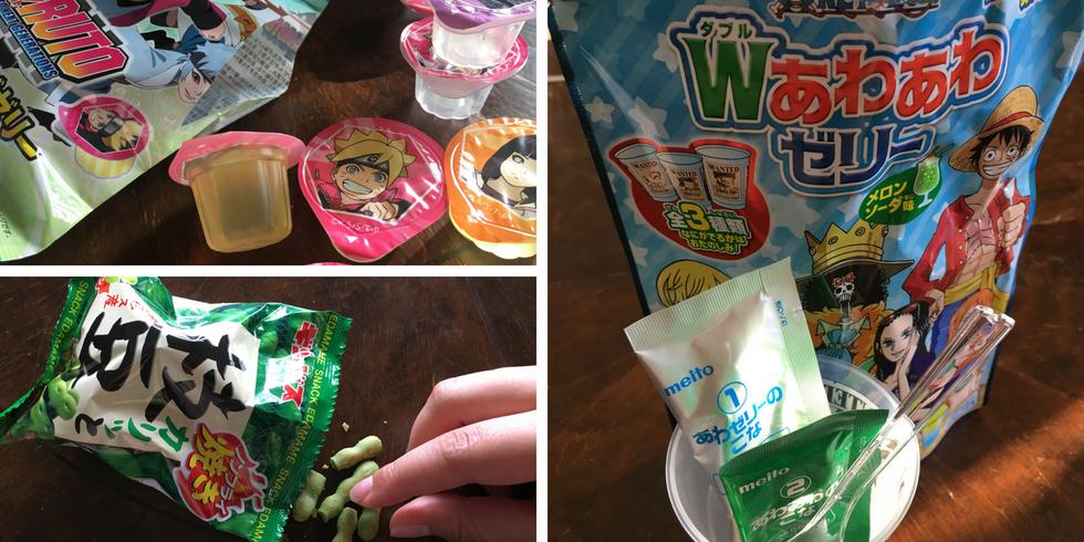 Tokyo Treat pineapple jellies, edamame ja one piece jelly