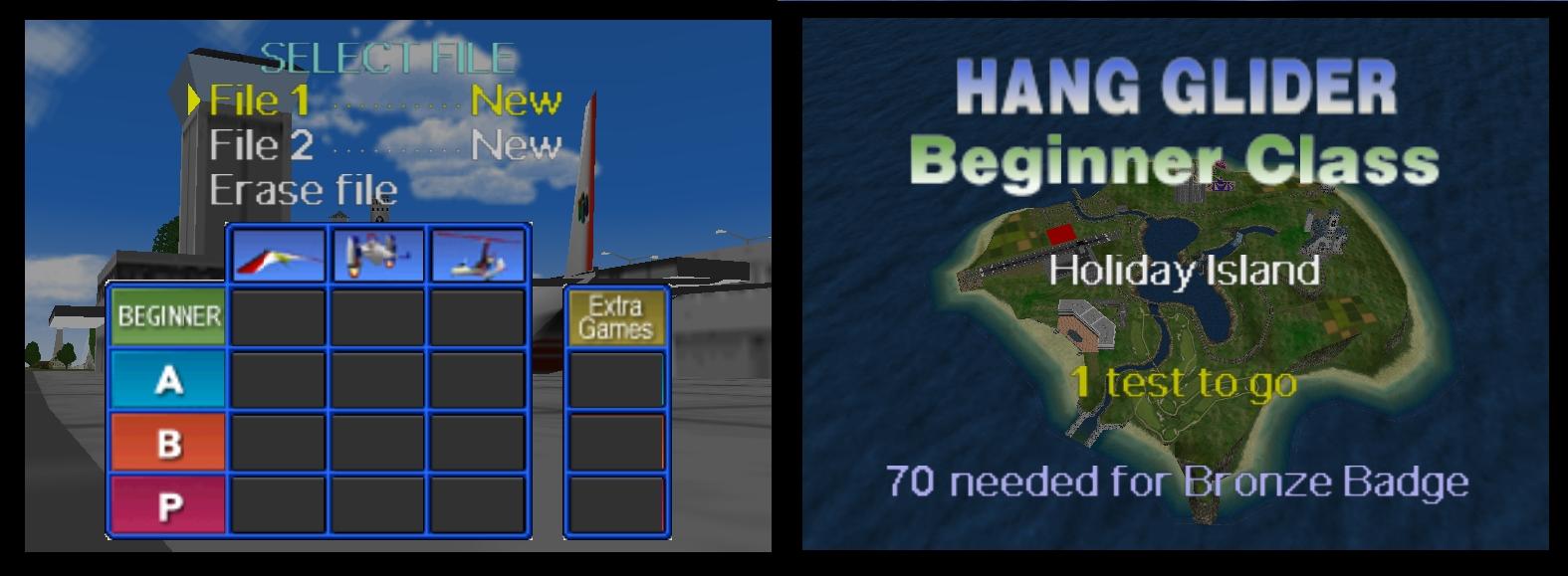 Pilotwings 64 valikko ja saari