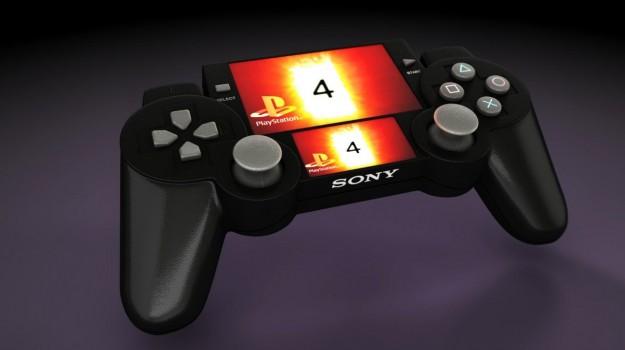 PlayStation 4 mockup malli ohjain kahdella näytöllä