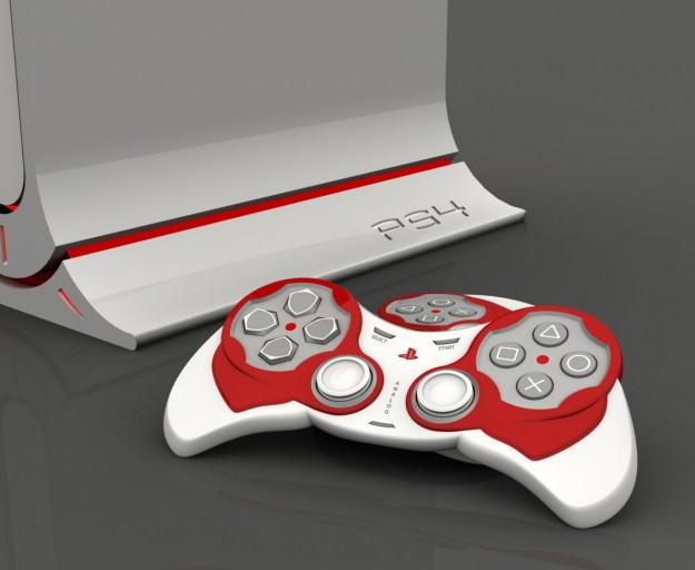 PlayStation 4 mockup malli punavalkomasiina