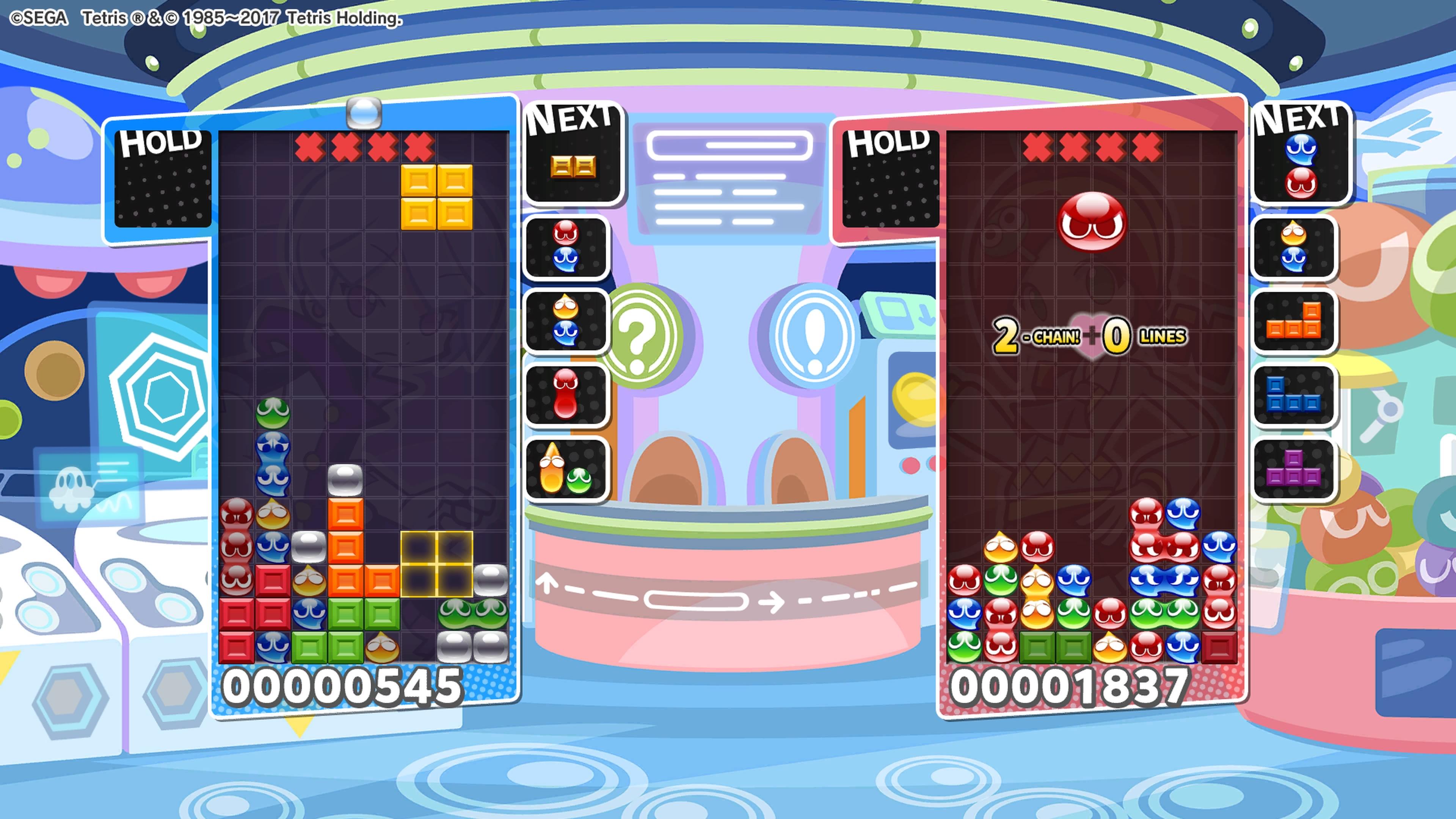 Puyo Puyo Tetris kaksi ruudukkoa