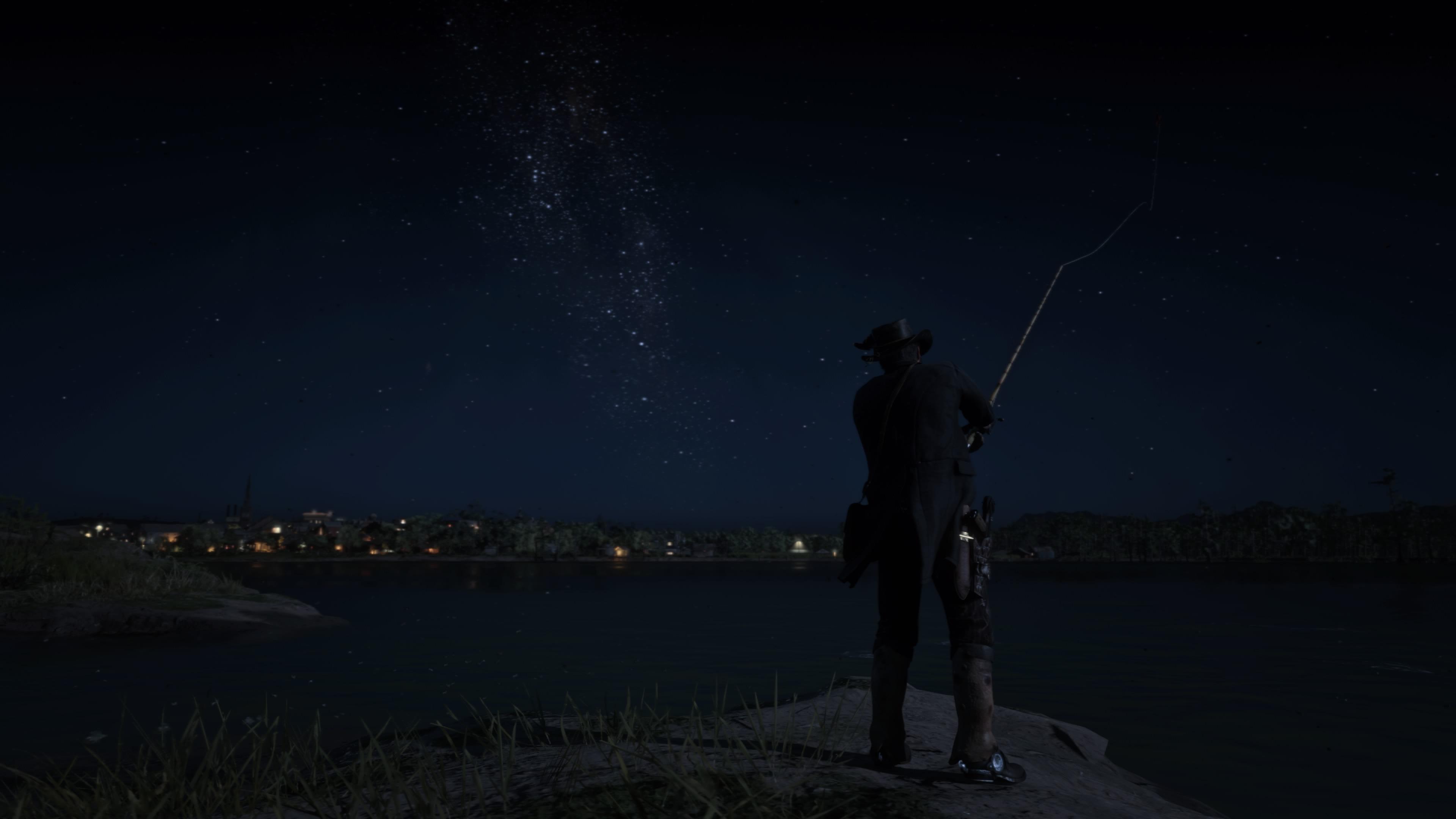 Red Dead Redemption 2 PS5 yöllä kalastamassa