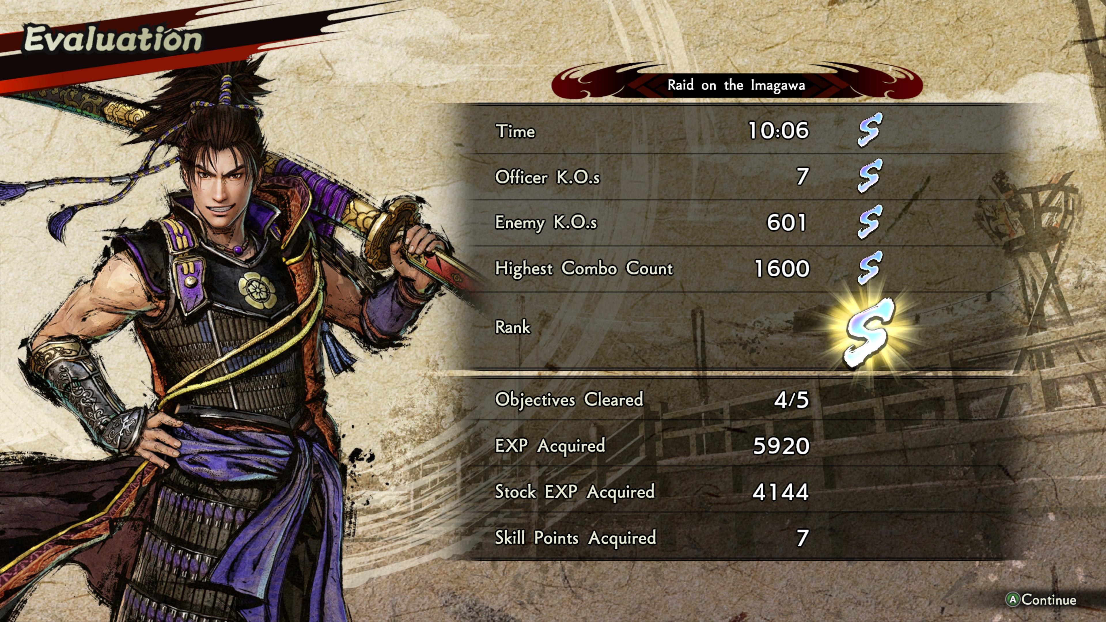 Samurai Warriors 5 Tulosruutu tai siis kentän suorituksen arvosanat