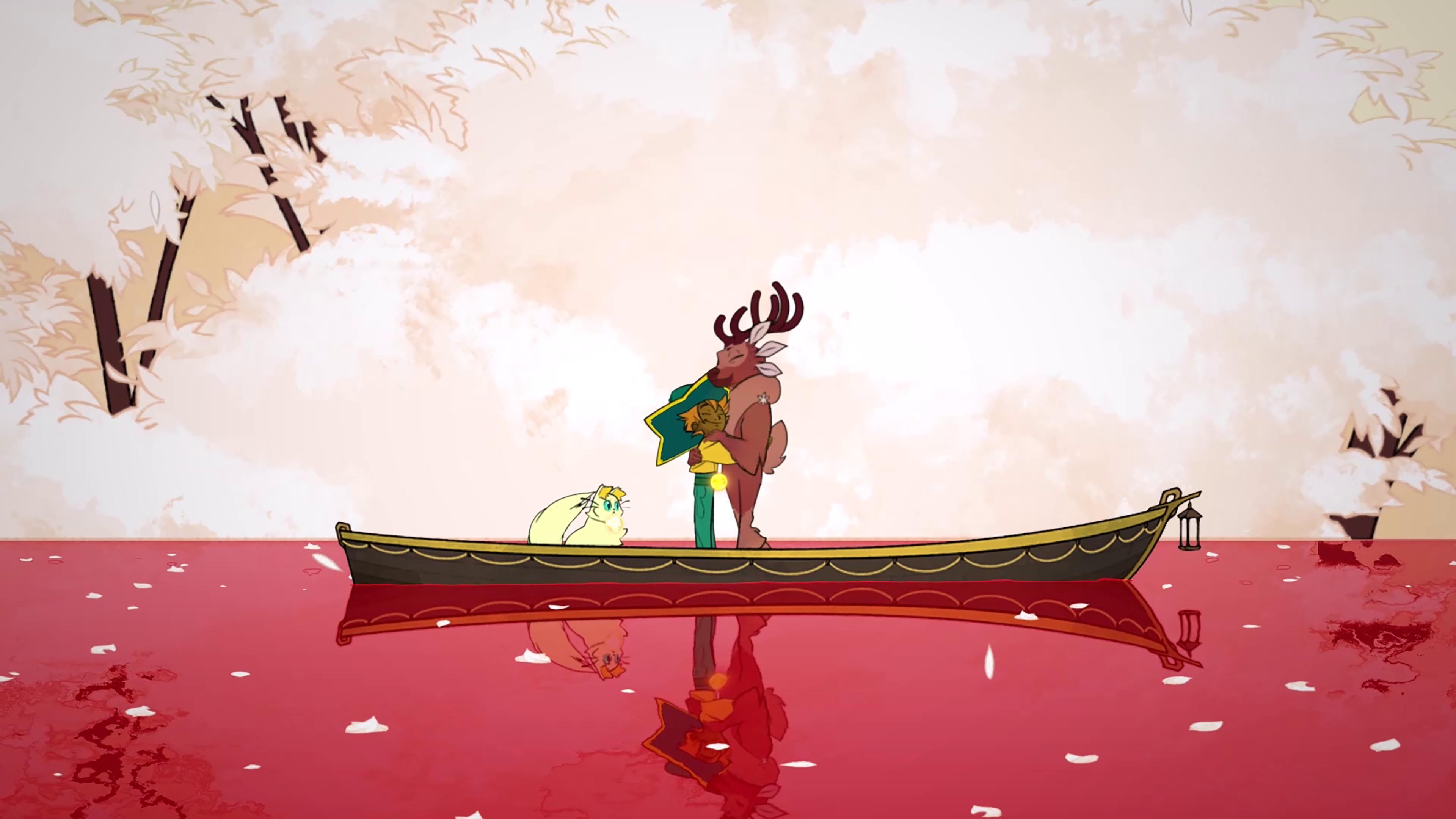 Spiritfarer pienessä veneessä kolme hahmoa
